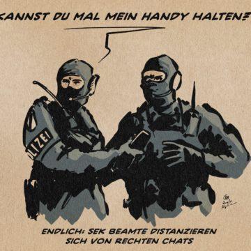Cartoon Polizei Nazi Netzwerke Chatgruppen
